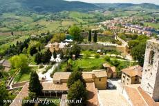 Historic Centre of San Gimignano - Historic Centre of San Gimignano: The walls and fortified houses viewed from the Torre Grossa. The tower is situated next to...