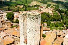 Historic Centre of San Gimignano - Historic Centre of San Gimignano: The Salvucci Towers or the Torri Gemelle, the so-called Twin Towers of San Gimignano. The towers belonged to one...