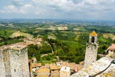 Historic Centre of San Gimignano - Historic Centre of San Gimignano: The Rognosa Tower and the Twin Towers of San Gimignano seen from the Great Tower, the Torre...