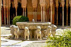 Alhambra, Generalife and Albayzín - Alhambra, Generalife and Albayzín, Granada: The Fountain of the Lions is situated in the middle of the Courtyard of the...