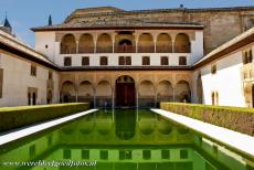 Alhambra, Generalife and Albayzín - Alhambra, Generalife and Albayzín, Granada: The Courtyard of the Myrtles, Patio de Arrayanes. The central pond is 34 metres long...