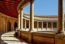 Alhambra, Generalife and Albayzín - Alhambra, Generalife and Albayzín, Granada: The circular patio of the Palace of Emperor Charles V has two levels. The square...