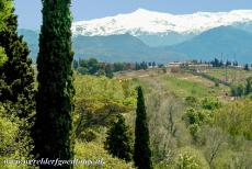 Alhambra, Generalife and Albayzín - Alhambra, Generalife and Albayzín, Granada: The Alhambra and the Promenade of the Towers in front of the Sierra Nevada, the...