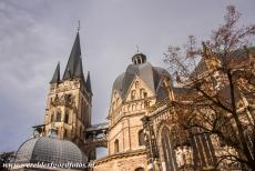 Aachen Cathedral - Aachen Cathedral: On the left the Hungarian Chapel and tower, on the right the octagonal dome of the Palatine Chapel. The bell tower houses...