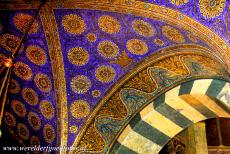 Aachen Cathedral - Aachen Cathedral: The vaulted ceiling of the octagonal Palatine Chapel is adorned with mosaics. the mosaics were inspired by the...