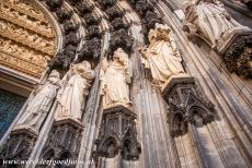 Cologne Cathedral - Cologne Cathedral: The statues of the Main portal of the west façade. The three portals of west façade are the Main...