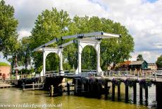 Defence Line of Amsterdam - Defence Line of Amsterdam: An historic wooden drawbridge across the river Vecht close to the defensive Tower on the Ossenmarkt (on...