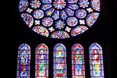 Chartres Cathedral - Chartres Cathedral: The Blue Virgin window dates from around 1150. The east window where the sun rises portrays the incarnation of the...