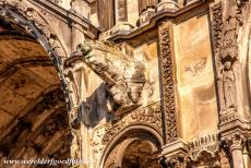 Chartres Cathedral - Chartres Cathedral: The south portal is adorned with gargoyles. Chartres Cathedral has nine elaborate sculpted gates with more than...