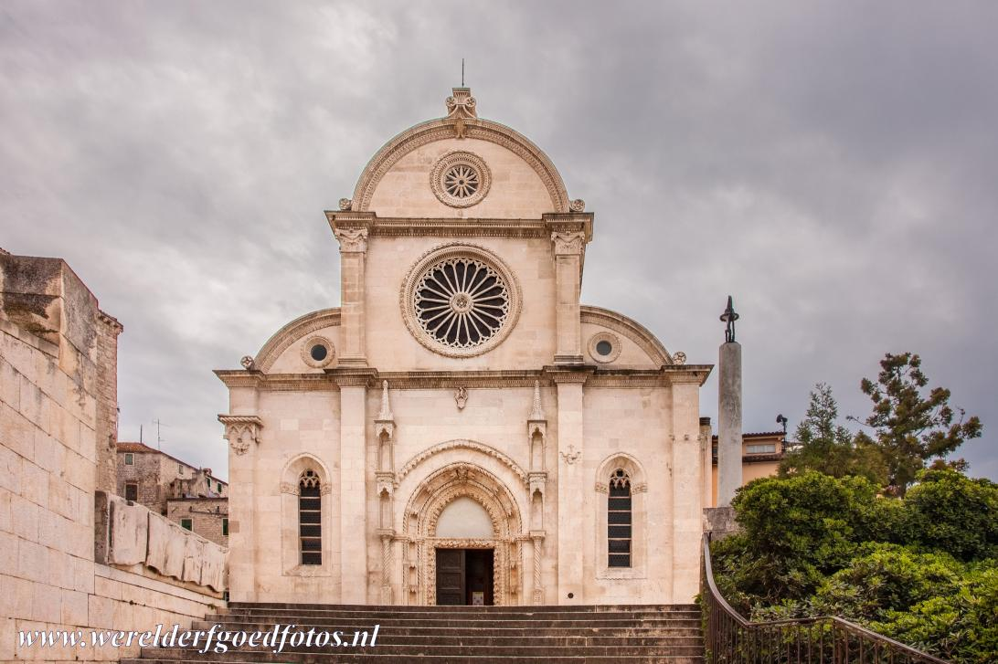 Cathedral of St James in Šibenik - The Cathedral of St. James in Šibenik: The front façade with the main portal and rose windows. The Cathedral of St. James is built...