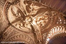 Cathedral of St James in Šibenik - The Cathedral of St. James in Šibenik: The fine sculpted ceiling of the baptistery. The baptistery of the Cathedral of St. James has richly...