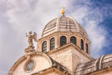 Cathedral of St James in Šibenik - The Cathedral of St. James in Šibenik: The dome is decorated with a statue of St. Michael. Inside the cathedral are four large columns on...