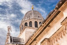 Cathedral of St James in Šibenik - The Cathedral of St. James in Šibenik: The dome of the cathedral is crowned with a statue of St. Michael. The Cathedral of St. James...