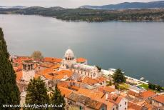 Cathedral of St James in Šibenik - The Cathedral of St. James in Šibenik viewed from the Castle of Šibenik. From the castle, the remarkable construction of the roof is...