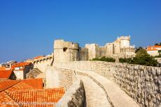 Old City of Dubrovnik - The defensive stone walls of the Old City of Dubrovnik. Dubrovnik was damaged during the war (1991-1995), little of Dubrovnik was left untouched....