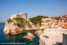 Old City of Dubrovnik - Old City of Dubrovnik: The St. Lawrence Fortress or Lovrijenac (on the left hand side) was built in the 11th century. Fort Bokar (on the...