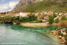 Old City of Mostar - Old Bridge Area of the Old City of Mostar: The remains of the destroyed Old Bridge of Mostar. The original Stari Most, the Old Bridge of Mostar of...