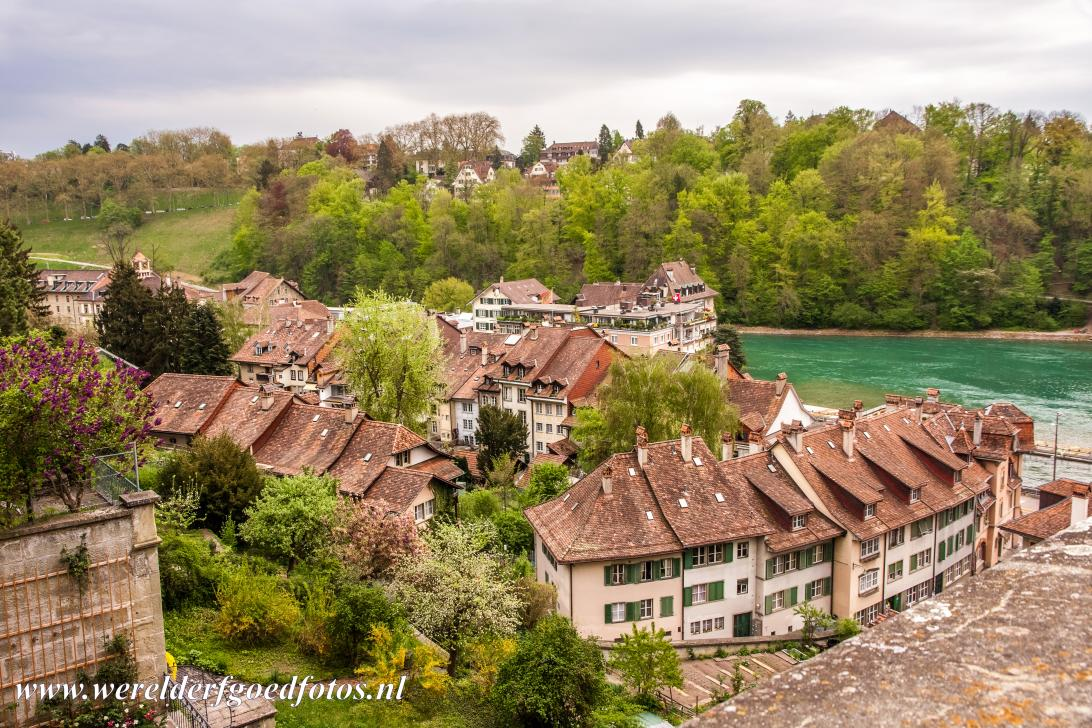 Old City of Bern - The Old City of Bern and the Aare River seen from the Münster Platform, the Minster Terrace. Bern was built on uneven ground, there...