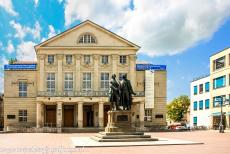 Classical Weimar - Classical Weimar: The Goethe and Schiller Monument in front of the Deutsches Nationaltheater, the National Theatre of Germany. Goethe and Schiller...