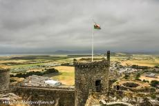 Castles of King Edward in Gwynedd - Castles and Town Walls of King Edward in Gwynedd: The Irish Sea seen from one of the towers of Harlech Castle, the mountains of...