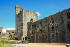 Castles of King Edward in Gwynedd - Castles and Town Walls of King Edward in Gwynedd: The mighty Chamberlain Tower seen from the inner ward of Caernarfon Castle. Several...