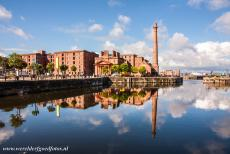 Liverpool - Mercantile City - Liverpoo l- Maritime Mercantile City: The chimney of the Pump House mirroring in the water of the Albert Dock, the heart of the Port of Liverpool....
