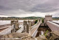 Conwy Castle and Town Walls - Castles and Town Walls of King Edward in Gwynedd: Conwy Castle and the Conwy Suspension Bridge. The bridge was built in 1826 by Thomas...