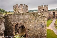Conwy Castle and Town Walls - The Castles and Town Walls of King Edward in Gwynedd: The King's chamber of Conwy Castle viewed from the imposing walls of...