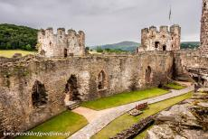 Conwy Castle and Town Walls - Castles and Town Walls of King Edward in Gwynedd: The Outer Ward with the Great Hall and chapel of Conwy Castle. Conwy Castle has eight...