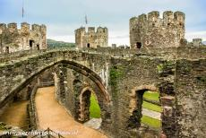 Conwy Castle and Town Walls - The Castles and Town Walls of King Edward in Gwynedd: The King's Hall of Conwy Castle viewed from the castle walls. The inner ward...