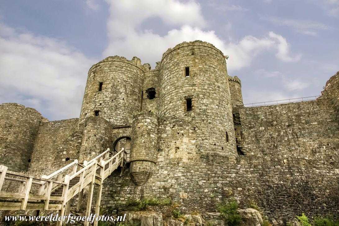 Harlech Castle - The main gate house of Harlech Castle. Harlech Castle is a medieval fortification in the former principality of Gwynedd in Wales. The...