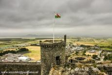Harlech Castle - The Castles and Town Walls of King Edward in Gwynedd: The Irish Sea viewed from one of the corner towers of Harlech Castle. Harlech Castle was...