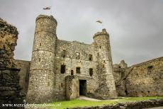 Harlech Castle - Castles and Town Walls of King Edward in Gwynedd: The Gate House of Harlech Castle viewed from the inner ward. The back of the gate house was...