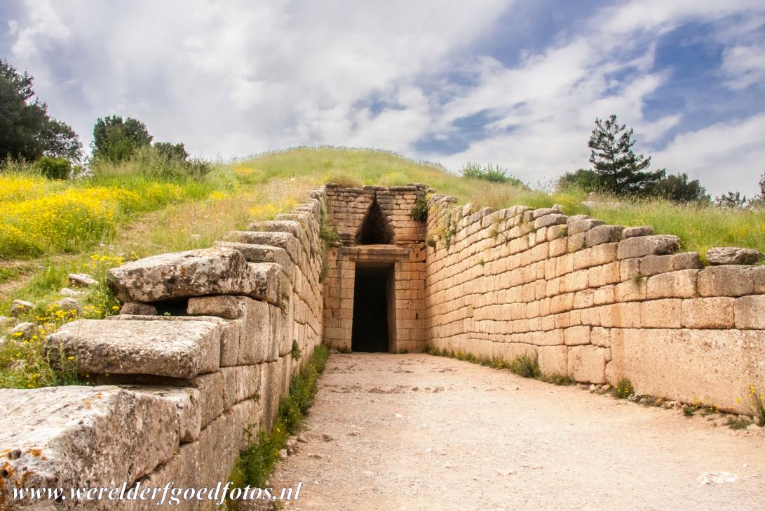 Archaeological Site of Mycenae - Archaeological Site of Mycenae: The Treasury of Atreus in the ancient city of Mycenae dates from about the 14th century BC. A 36 metres long...