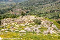 Archaeological Site of Mycenae - Archaeological Site of Mycenae: View of the lower city from the citadel of Mycenae. Mycenae is situated on the Peloponnese peninsula in...