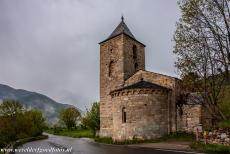 Catalan Romanesque Churches of Vall de Boi - The Catalan Romanesque Church of Santa Maria de l'Assumpció de Coll. Just below the roof, the exterior walls are decorated with a...