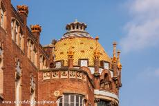 Barcelona, Art Nouveau - One of the lavishly decorated roofs of the Hospital de Sant Pau in Barcelona. Hospital de Sant Pau consists of 27 unique pavilions. The...