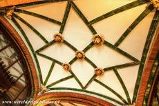 Barcelona, Art Nouveau - One of the decorated ceilings of the Palau de la Música Catalana in Barcelona. The ceiling of the vestibule is adorned with...
