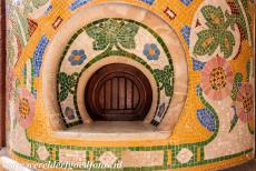Barcelona, Art Nouveau - Palau de la Música Catalana in Barcelona: The ticket-windows are adorned with floral mosaics, they are situated in the...