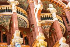 Barcelona, Art Nouveau - The façade of the Palau de la Musica Catalana in Barcelona is adorned with mosaics and busts of famous composers. The Palau...