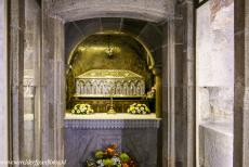 Route of Santiago de Compostela in Spain - Route of Santiago de Compostela in Spain: Cathedral of Santiago de Compostela, the silver box containing the remains of the apostle...