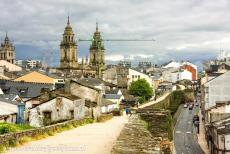 Route of Santiago de Compostela in Spain - Route of Santiago de Compostela in Spain: Lugo Cathedral seen from the Roman Walls of Lugo. The Roman Walls of Lugo are also an UNESCO...