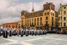 Route of Santiago de Compostela in Spain - Route of Santiago de Compostela in Spain: Easter Holy Week Procession in front of the León Cathedral, Santa...