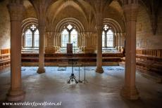 Poblet Monastery - Poblet Monastery: In the 13th century Chapter house the ribs of the vaulted ceiling are shaped in the form of a palm tree. Many abbots of the...