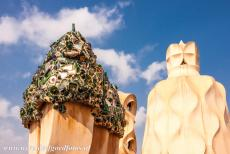 Works of Antoni Gaudí - Works of Antoni Gaudí, Barcelona: The unusual shaped chimneys and vents on the roof of Casa Milà. Several chimneys or vents are...