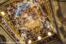 El Escorial in Madrid - Monastery and Site of the Escorial in Madrid: The dome of the basilica is adorned with colourful frescoes. The design of the dome of the Basilica...
