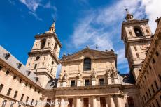 El Escorial in Madrid - Monastery and Site of the Escorial in Madrid: The Courtyard of the Kings and the Basilica of El Escorial. Under the High Altar of the Basilica is...