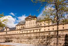 El Escorial in Madrid - Monastery and Site of the Escorial in Madrid: The main façade of El Escorial in Madrid. The Royal Monastery of San Lorenzo de El Escorial...