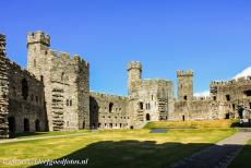 Caernarfon Castle - Castles and Town Walls of King Edward in Gwynedd: The Queens Gate of Caernarfon Castle viewed from the courtyard.