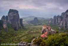 Monasteries of Meteora - Meteora: The Holy Monastery of Roussanou perched on its rock in the Meteora region, it is the most spectacular situated monastery of Meteora. The...